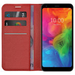 Leather Wallet Case & Card Holder Stand Case for LG Q7 - Red